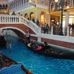 "Gondolas in the canals inside ""The Venetian"", the biggest casino in the world"